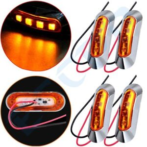 4 x 12V amber side marker light gap light indicator truck van 4 LED Clearance