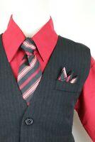 Apple red claret boys pinstripe vest 4 piece set formal suit easter all size
