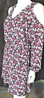 Banana Republic Womens Dress NEW Silky Floral Cold Shoulder Lined MSRP-$89