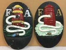 "2 VINTAGE CAST IRON FA Fire Association Wall PLAQUE HYDRANT 10 3/8"" x 6 5/8"""
