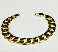 "14kt Solid Yellow Gold Handmade Curb Link Mens Bracelet 9"" 47 Grams 14MM"