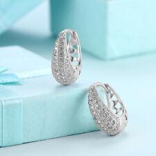 Small Baby CZ .925 Sterling Silver Hoop Huggie Earrings