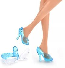 Barbie Doll 10 Pairs Of Crystal Shoes Cinderella Shoes Clear & Blue US Seller