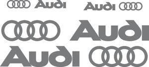 4 adesivi logo audi sticker side fiancate A1 A3 A4 A5 Q3 Q5 Q7 tt  grigio scuro