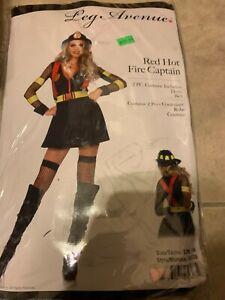 Red Hot Fire Fighter Captain Leg Avenue Sexy Dress Costume Small-Medium NEW
