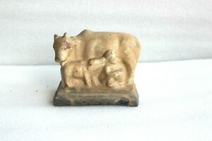 Vintage Handmade Terracotta Clay Cow Figurine Home Decorative Collectible BR-46
