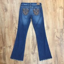 Hint Distressed Flare Jeans Embroidered Back Pockets Only Worn Once Juniors Sz 3