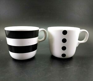 IKEA Sweden Coffee Mugs Black Polka Dot  and Stripes Tea Cups