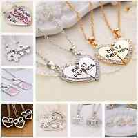 Best Friends BFF Friendship Charm Pendant Heart Necklaces Xmas +Free Gift Bag