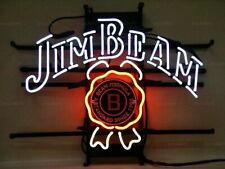 """New Jim Beam Whiskey Neon Light Sign 24""""x20"""" Beer Cave Gift Bar Real Glass"""