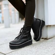 Hot Womens Motor PU Leather Ankle Boots Flat Platform Punk Goth Creepers 752446