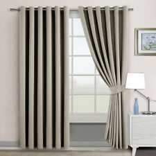 2X Blockout Eyelet Curtains 3 Layers Blackout Room Darkening Pure Fabric Natural