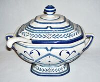 FITZ and FLOYD ~ Early 3-Pc Blue & White TUREEN + LID w/LADLE (Sorrento) 3.5 Qt.