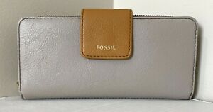 New Fossil Madison zip clutch wristlet wallet Eco Leather Grey multi