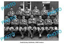 OLD LARGE PHOTO, SOUTH SYDNEY RABBITOHS 1968 PREMIERS TEAM, JOHN SATTLER etc