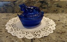VINTAGE REPRO COBALT BLUE GLASS NESTING COW COVERED DISH