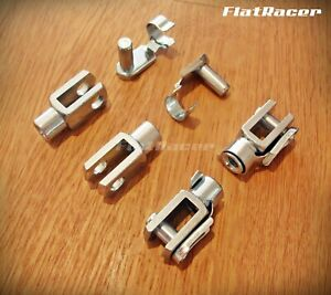 Tarozzi M6 clevis fork & pin set (4) BZP zinc plated with quick fit/snap pins