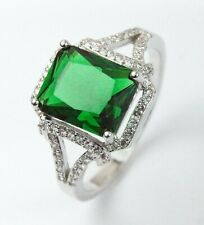 Silver Filled Green Crystal Ring UK Size T