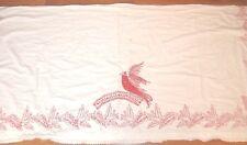 Vintage Antique European Redwork Embroidered Bird & Flowers Kitchen Panel