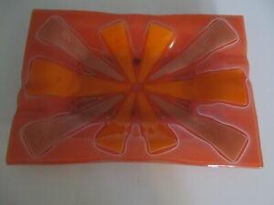 "VINTAGE Mid Century Modern Orange Ashtray or Candy  Dish. 10"" x 7"""