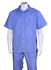Men's 2pc Casual Walking Suit Linen Short Sleeve Shirt w/ Pants Set #2806