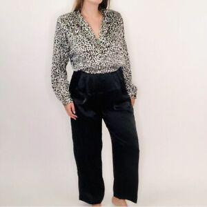 Vintage 80s Mod Collared Cow Print Long Jumpsuit Medium Womens  Black White