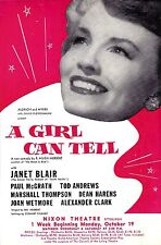"Janet Blair (Debut) ""A GIRL CAN TELL"" Jack Whiting 1953 FLOP Tryout Flyer"