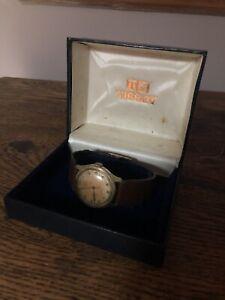 Vintage Tissot Antimagnetique Wrist Watch Boxed Brown Strap Early Model