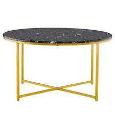 Modern Marble Simple  MDF Metal Round Coffee Table Home Furniture Black New