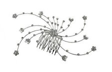 Bridal Flower Comb Silvery White Trim Bedecked with White Crystals AD63337