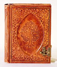 Notizbuch Leder Tree, Tagebuch mit Verschluss, Lederbuch Diary liniert Gästebuch