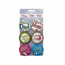 "Baby Shower Buttons Mom Dad Grandma Grandpa Aunt Uncle - 6p 1.5"" Baby Pins Bold"