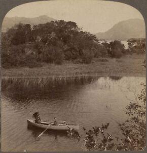 Ireland. On the Upper Lake of Pretty Killarney - Underwood Stereoview