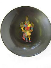 Vintage Couroc Hummingbird Kachina Hopi Bowl inlaid wood & metal California