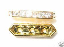 12 Swarovski Spacers Gold/Crystal 3 holes - NS302