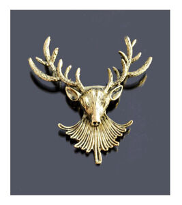 Brooch Stag Deer Scarf Pin Jackenschliesse Elk Antlers Bronze