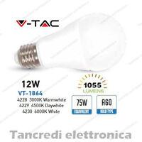 Lampadina led V-TAC 12W = 75W E27 VT-1864 A60 SMD globo bulbo sfera lampadine