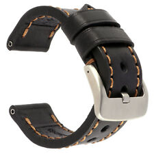 22mm NEW COW Leather Strap Black Watch Band for fits PANERAI Copper Tang