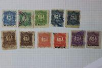 Mexico Revenue Timbre 1883-1884 documentos set up to 1p peso color variety