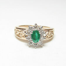 Estate 14K Yellow And White Gold 0.45 Ct Natural Green Emerald Diamond Halo Ring