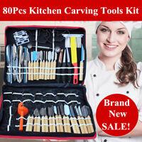 80pcs/set Pro Vegetable Food Fruit Engraver Kitchen Carving Knife Tool Kit