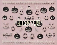 Halloween Black Pumpkin Horror Face Silver Stud 3D Nail Arts Sticker Decals