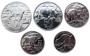 KATANGA 5 COINS SET 1 - 100 FRANCS 2017 - AFRICAN ANIMALS UNC COIN
