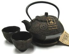 Japanese Gold Ancient Coin Cast Iron Tea Teapot Cups Trivet w/ Strainer Gift Set