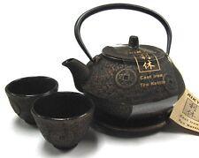Japanese Gold Ancient Coin Cast Iron Tea Teapot Cups Trivet w/ Strainer Gift Set