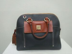 New DOONEY & BOURKE Navy Pebbled Leather Brown Dome Handbag Satchel Purse Bag