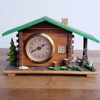 Heirloom Company Germany figural shelf clock wooden cabin vintage for repair