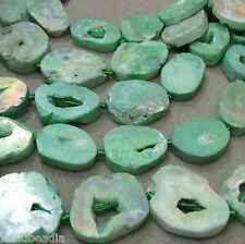 Seafoam Green Druzy Agate 28-35mm Oval Nugget 3 Beads Focal Pendant Statement