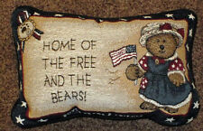 Boyds Bears America ~ Home of the Free and the Bears! Tapestry Word Pillow