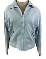 Liz Golf zip jacket womens size M medium white blue stripe seersucker 2 pockets
